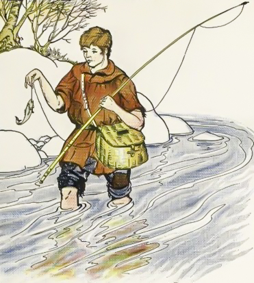 Clipart fisherman and his wife cast clipart stock The Fisherman and The Little Fish - Fables of Aesop clipart stock