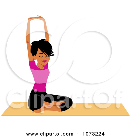 Black woman doing yoga. Clipart fit