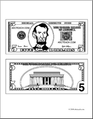Five dollar bill clipart freeuse Clip Art: Five Dollar Bill Outline (coloring page) I abcteach.com ... freeuse