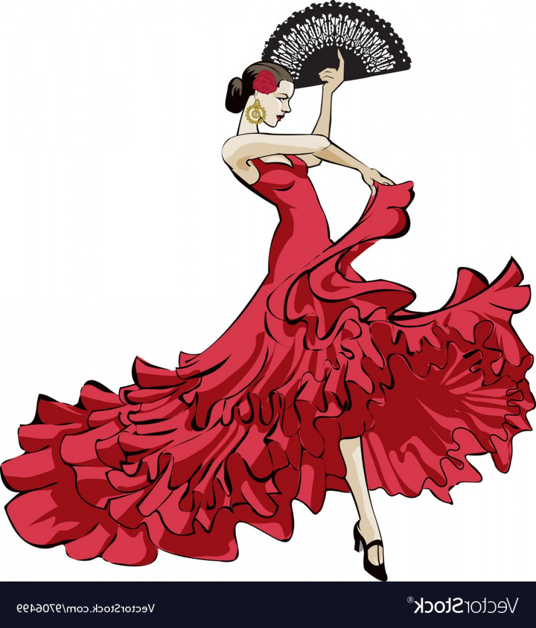 Dancer vector spanish dancers. Flamenco clipart