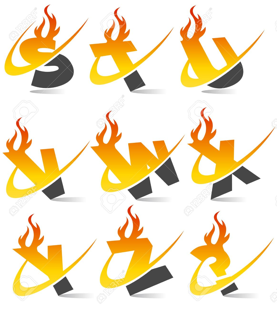 Clipart flaming letters png royalty free download Swoosh Flame Alphabet Royalty Free Cliparts, Vectors, And Stock ... png royalty free download