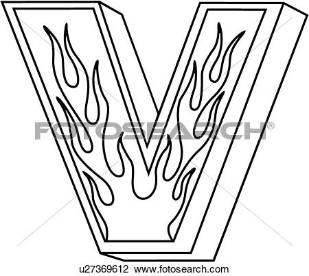 Clipart flaming letters black and white stock Clip Art of , alphabet, capital, flaming block, hand lettered ... black and white stock