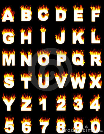 Clipart flaming letters graphic transparent download Numbers In The Fire. The Alphabet In The Flame. Stock Illustration ... graphic transparent download
