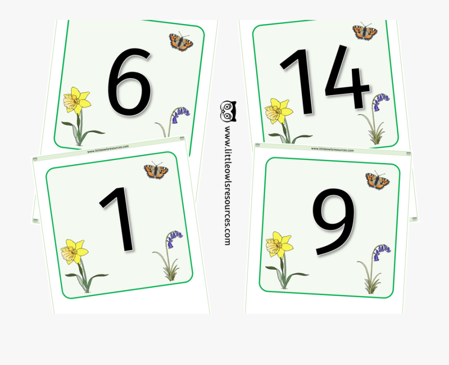 Clipart flashcard vector royalty free Spring Number Line/flashcards 0-25 - Flashcard #1851189 - Free ... vector royalty free