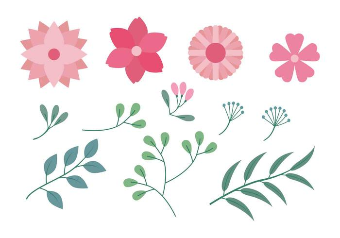 Clipart fleur picture free library Flower Clipart Set Vector Illustration - Download Free Vector Art ... picture free library