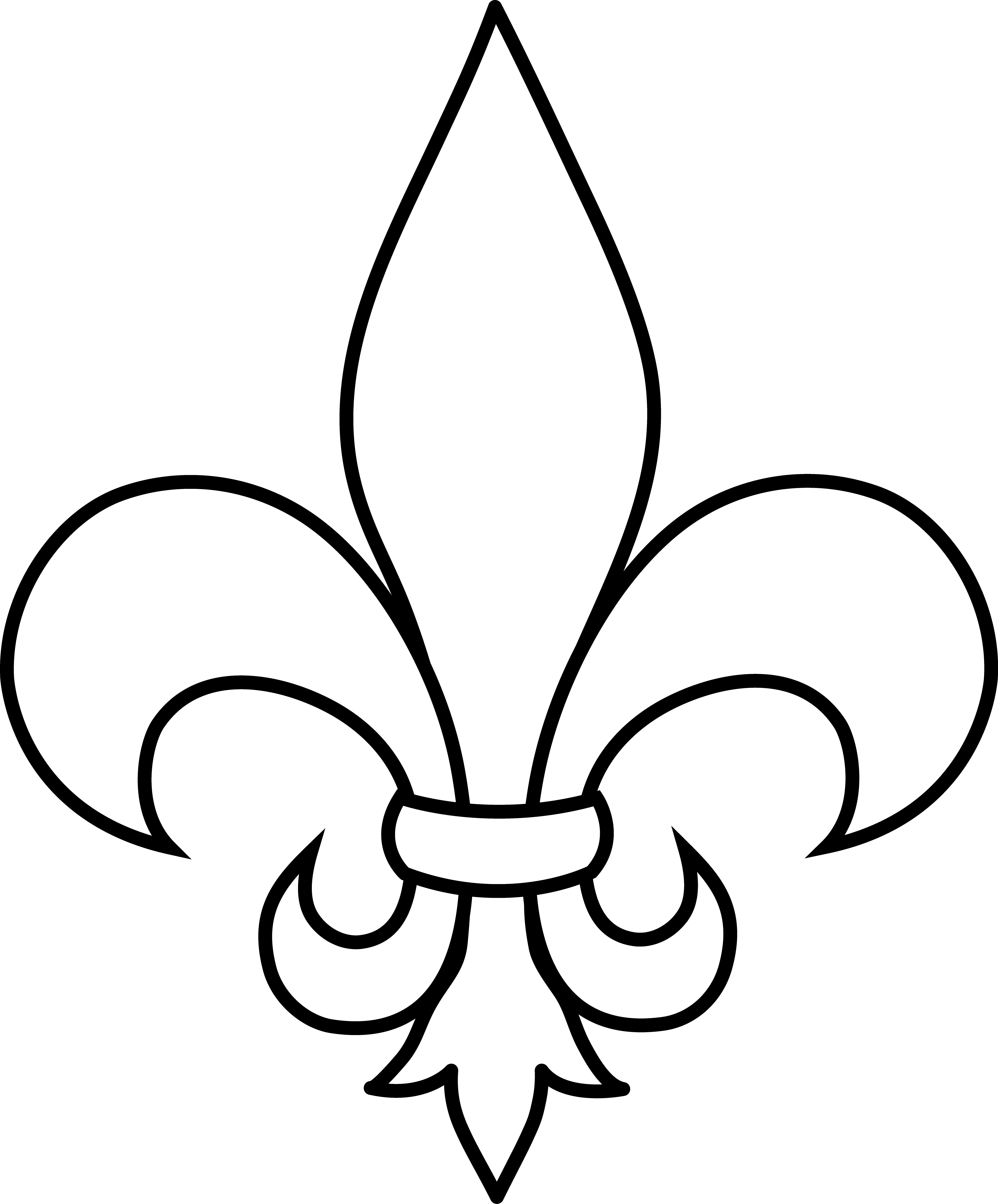 Free clipart fleur de lis jpg black and white download frrench free clip art | Black and White Fleur De Lis Outline - Free ... jpg black and white download