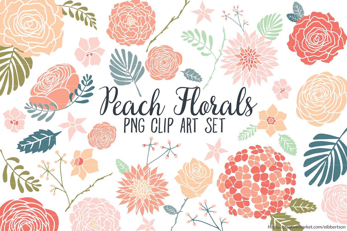 Clipart florals clip art download Peach Floral Clipart Flower Clip Art clip art download