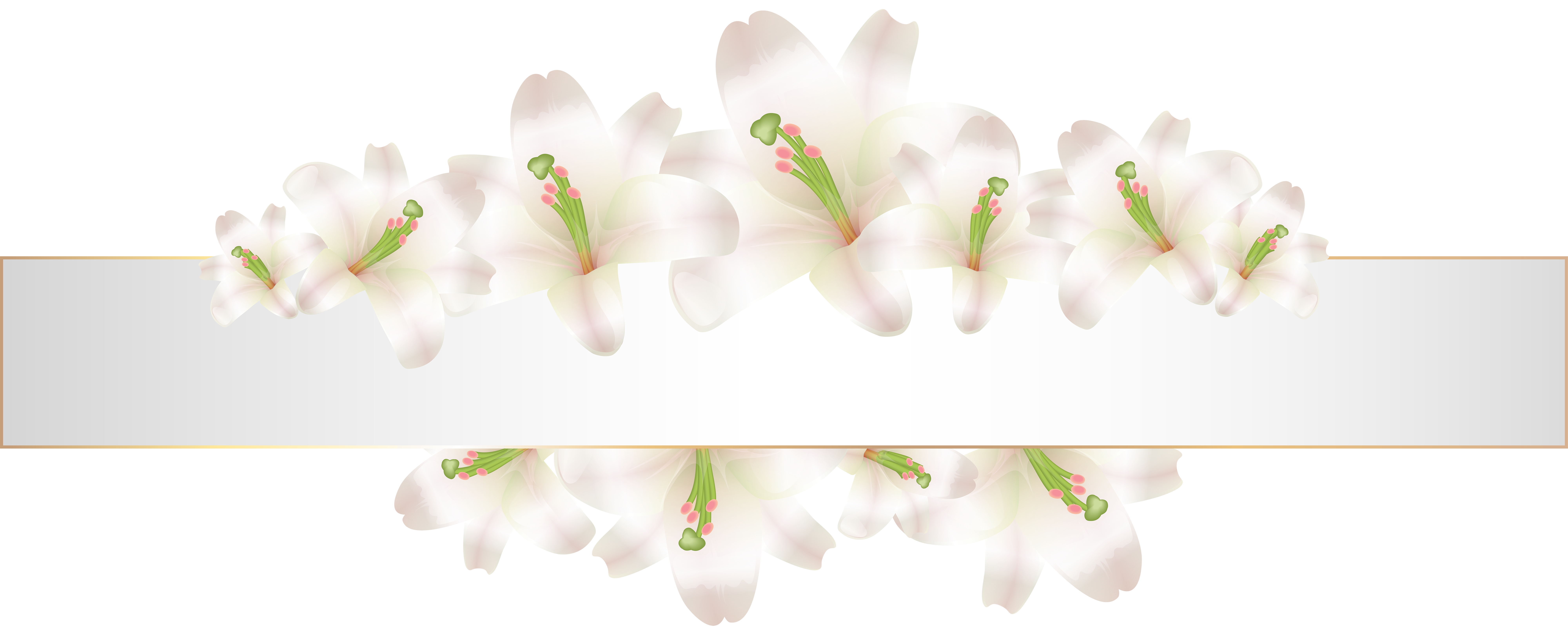 Clipart flower banner vector royalty free stock Soft Deco Banner with Flowers PNG Clip Art | Gallery Yopriceville ... vector royalty free stock