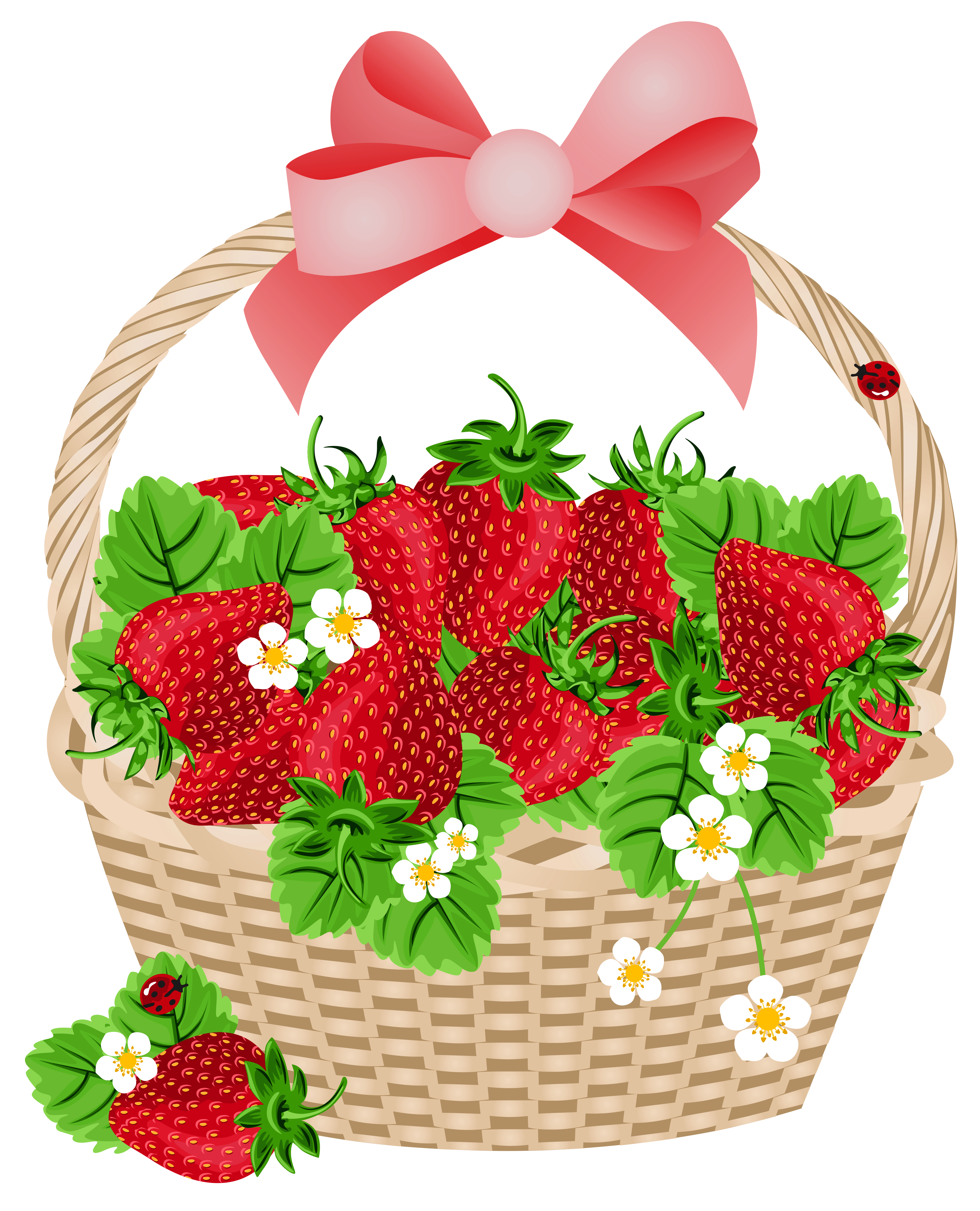 Strawberry flower clipart clip art black and white stock Strawberry Basket Clipart clip art black and white stock