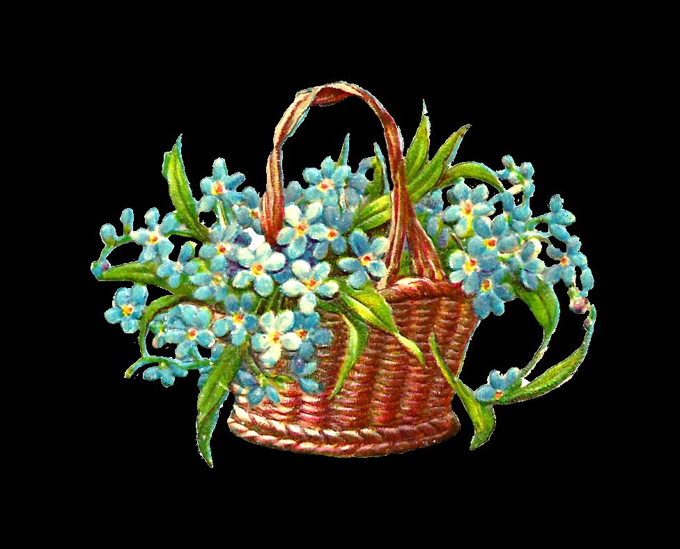 Clipart flower basket svg transparent library Antique Images: Free Flower Graphic: Antique Wicker Flower Basket of ... svg transparent library