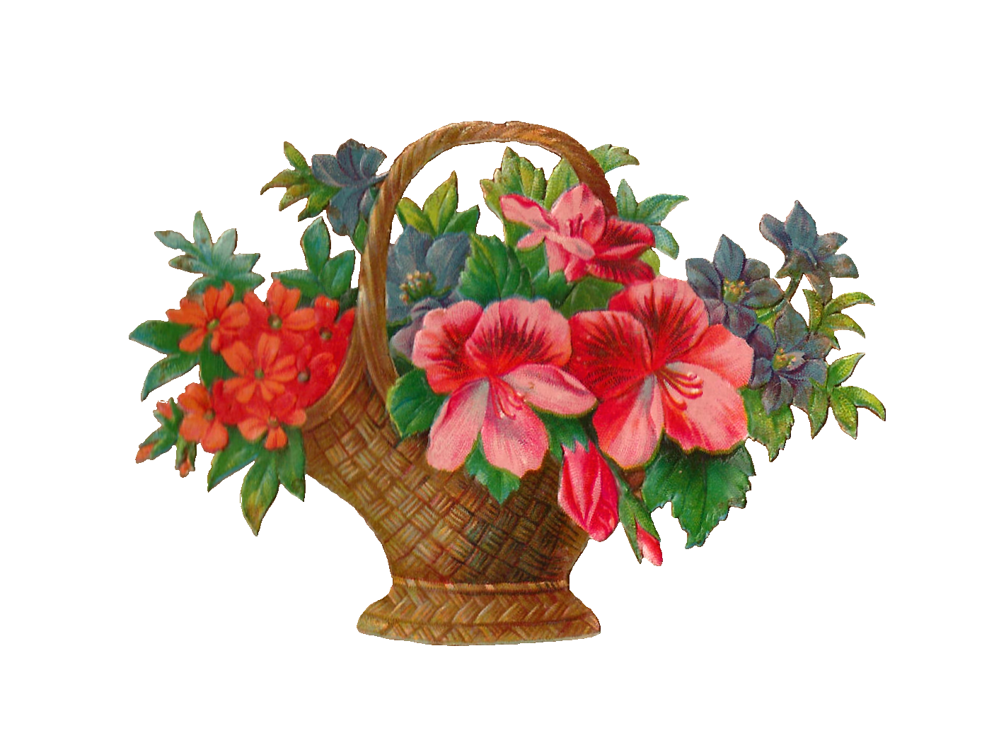 Hanging flower basket clipart graphic royalty free Free Flower Stock Image: Antique Flower Basket With Flowers Graphic ... graphic royalty free