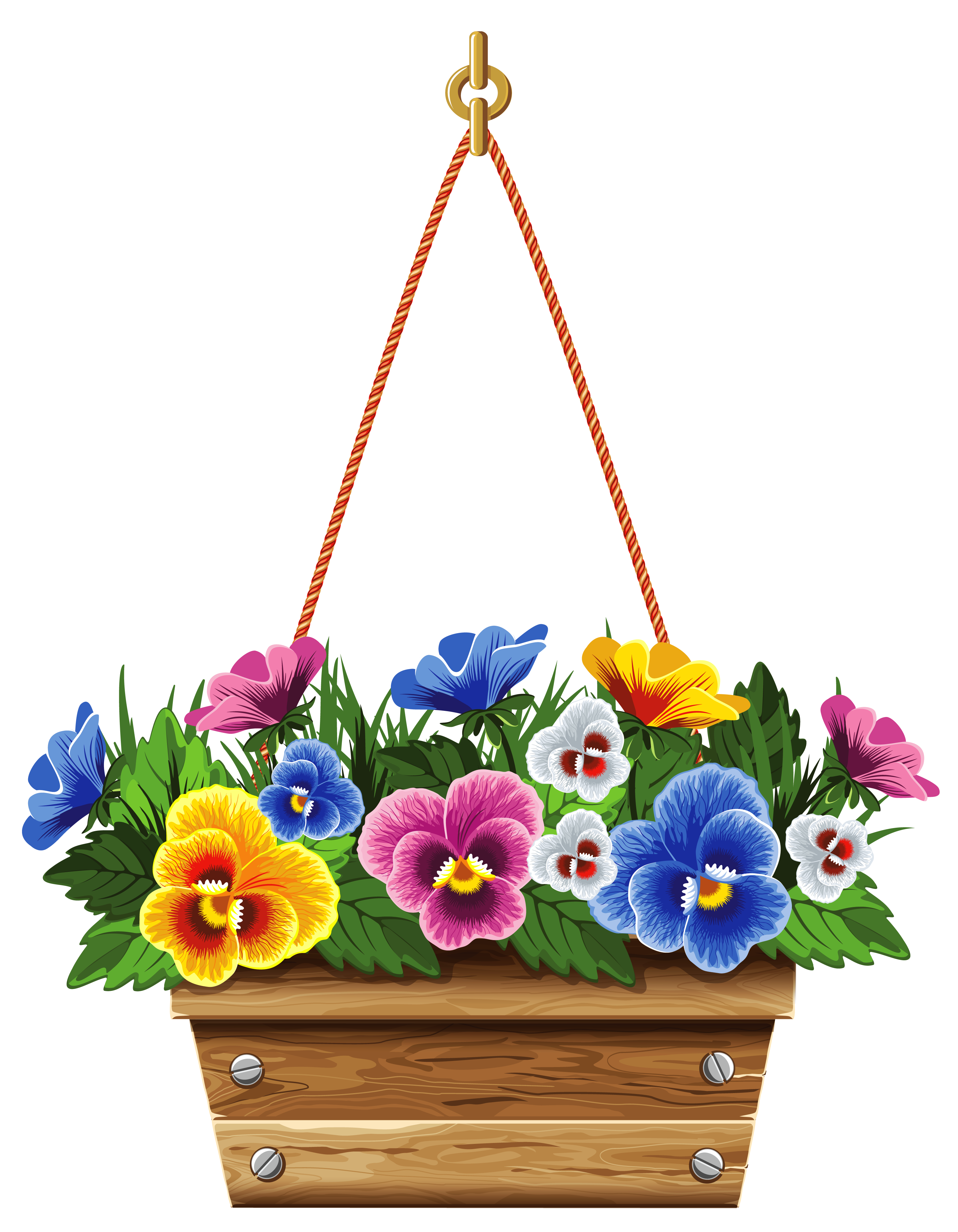 Flower baskets clipart clip art Hanging Box with Violets PNG Clipart Picture | Gallery Yopriceville ... clip art