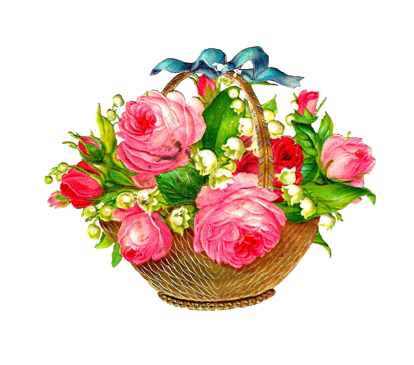 Clipart flower basket banner free download Antique Images: Free Flower Basket Graphic: Pink Roses and Lily of ... banner free download