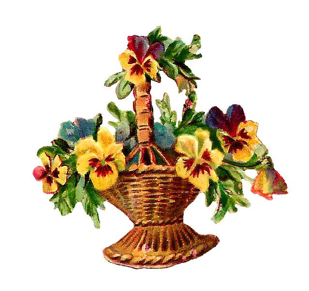 Flower baskets clipart picture transparent download Antique Images: Free Vintage Digital Flower Basket Clip Art of ... picture transparent download