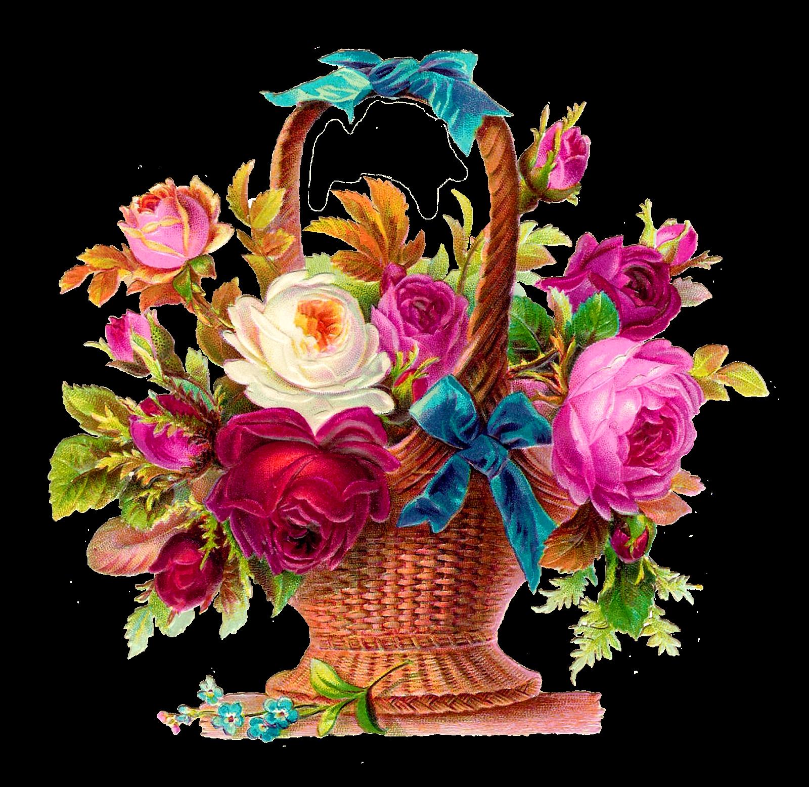 Mother's day flower clipart stock Antique Images: Printable Rose Flower Basket Scrapbooking Clip Art ... stock