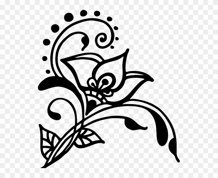 Clipart flower basket silhouette black and white svg stock Henna Flower Silhouette, Silhouette Art, Black And - Vines ... svg stock
