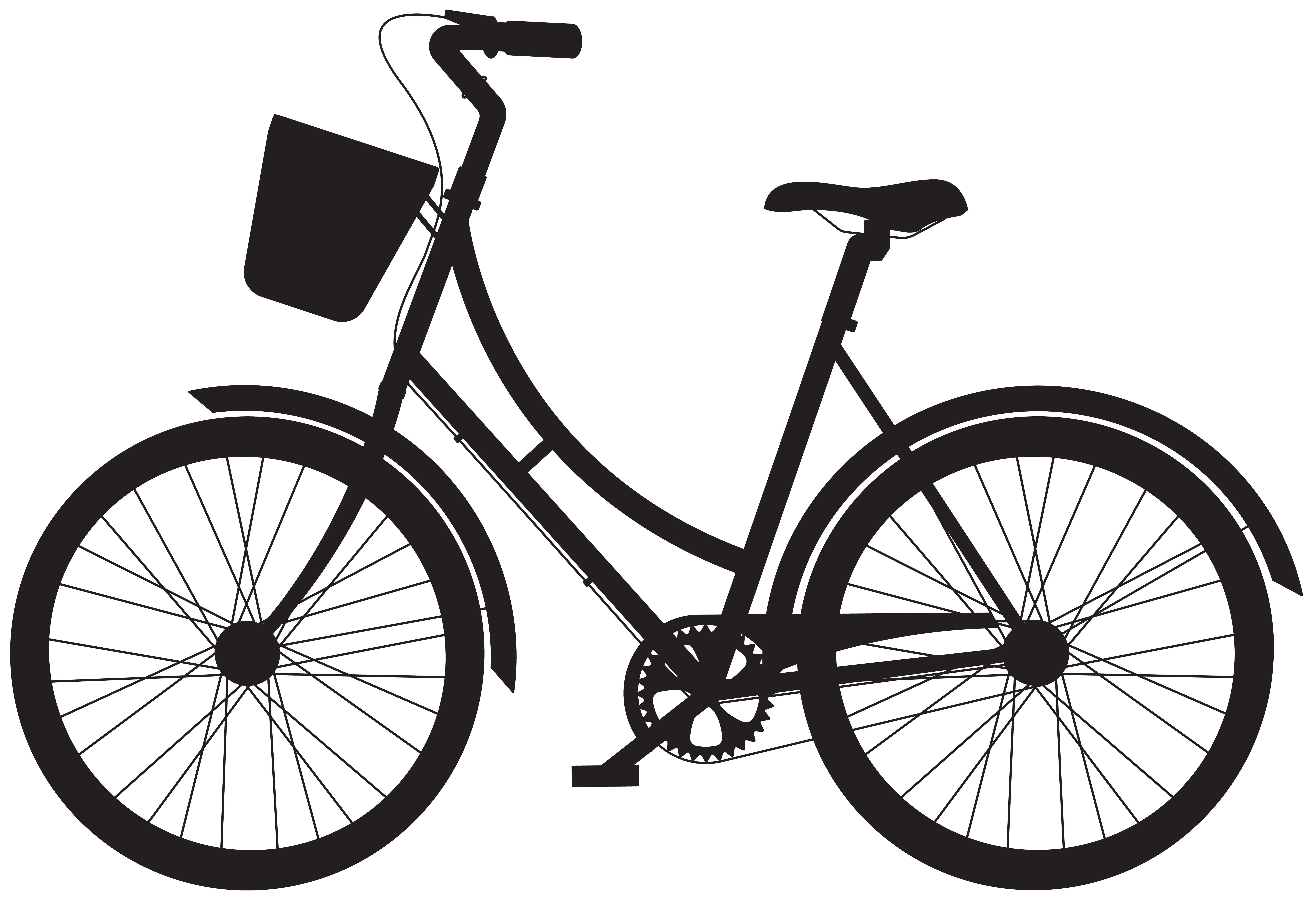 Clipart flower basket silhouette black and white banner transparent stock Bicycle with Basket Silhouette PNG Clip Art | Gallery Yopriceville ... banner transparent stock