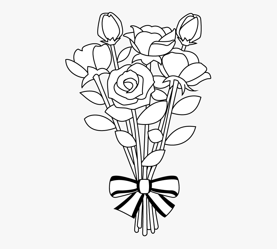 Clipart flower basket silhouette black and white jpg download Flower Bouquet Clipart Library Black And White - Bouquet Of Flowers ... jpg download