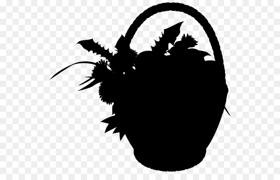 Clipart flower basket silhouette black and white svg free library Black & White - M Leaf Clip art Silhouette Tree - svg free library
