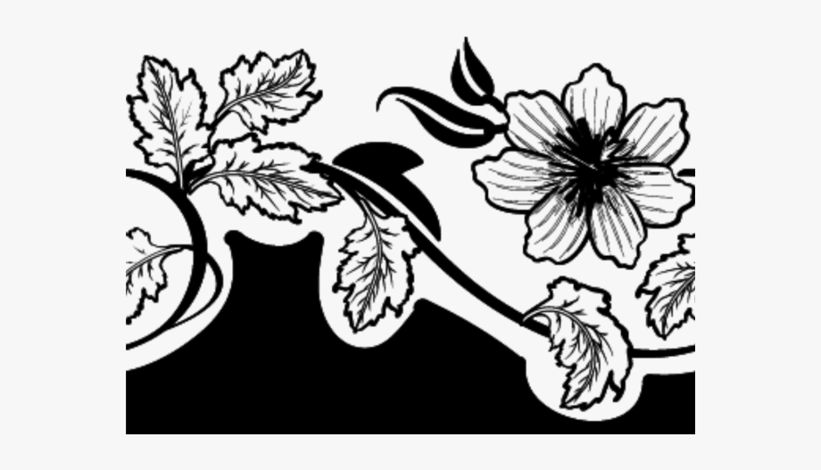 Clipart flower basket silhouette black and white jpg free Black And White Flower Png - Illustration #1301521 - Free Cliparts ... jpg free