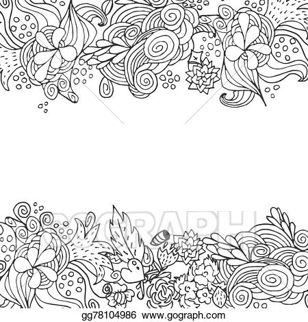 Clipart flower black and white bottom border picture free Vector Stock - Hand drawn floral vector doodle top and down border ... picture free