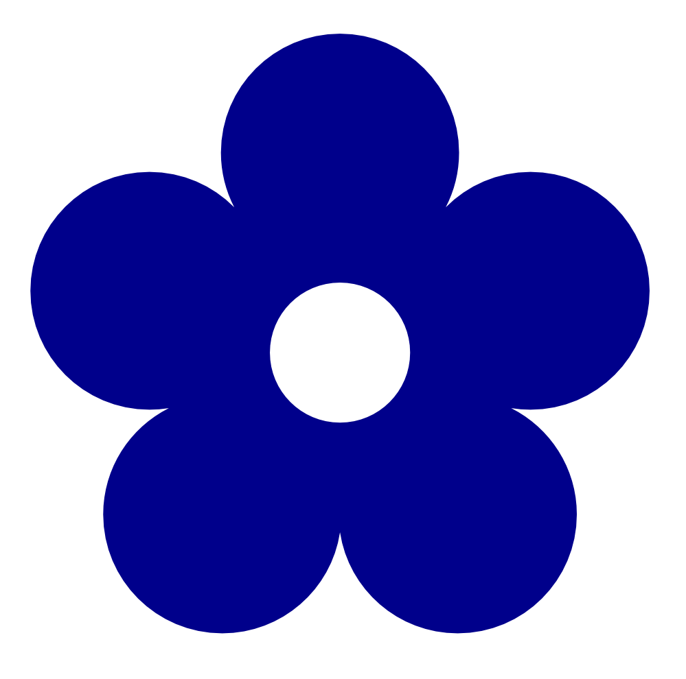 Clipart flower blue vector royalty free Retro Flower 1 Color Colour Dark Blue Peace xochi.info ... vector royalty free