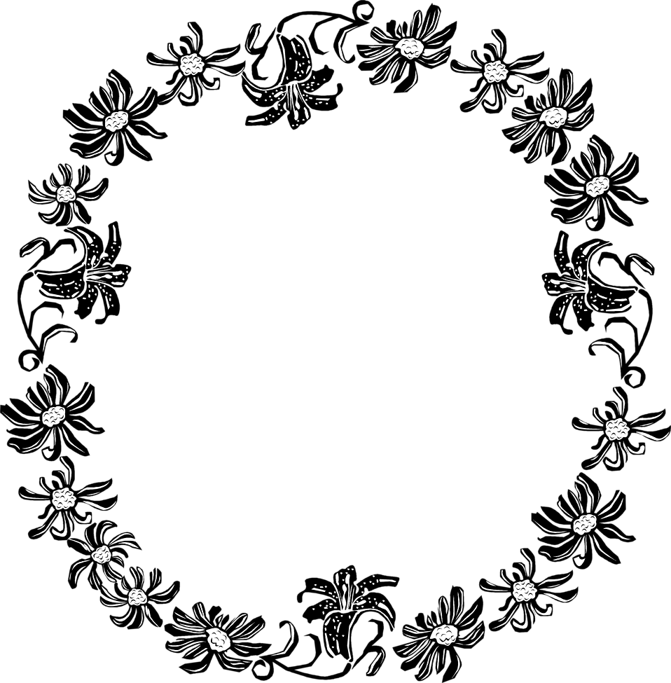 Flower circle border clipart banner black and white download Border Flowers | Free Stock Photo | Illustration of a floral frame ... banner black and white download