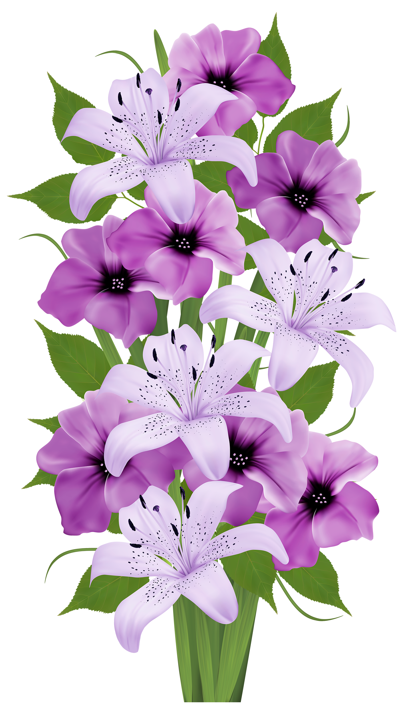 Vintage flower clipart purple freeuse download Purple Lilies Bouquet | Clip Art Everyday for Cards, Scrapbooking ... freeuse download