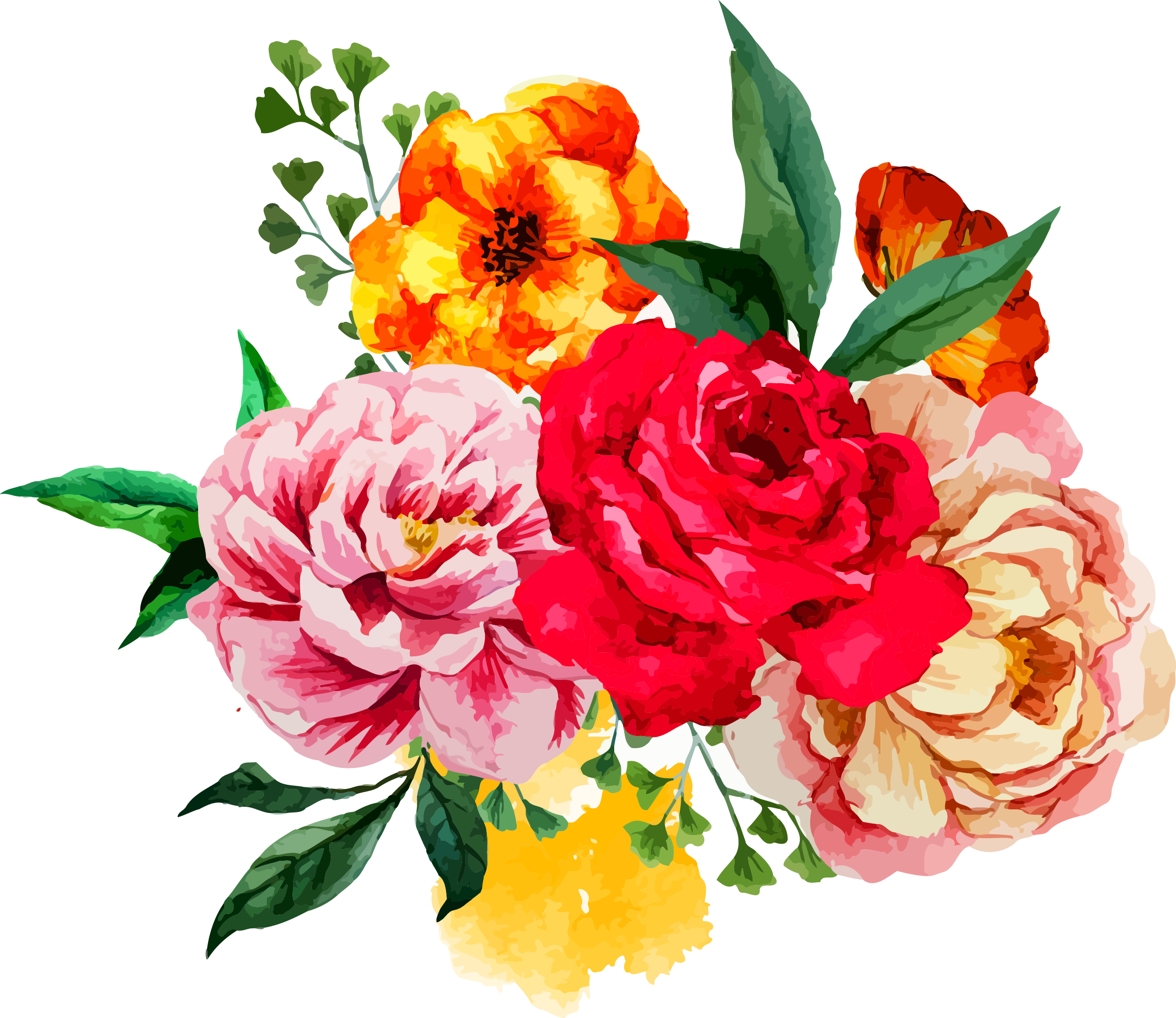 Clipart flower bouquets graphic black and white download Flower bouquet Watercolor painting Clip art - Peony 2244*1942 ... graphic black and white download