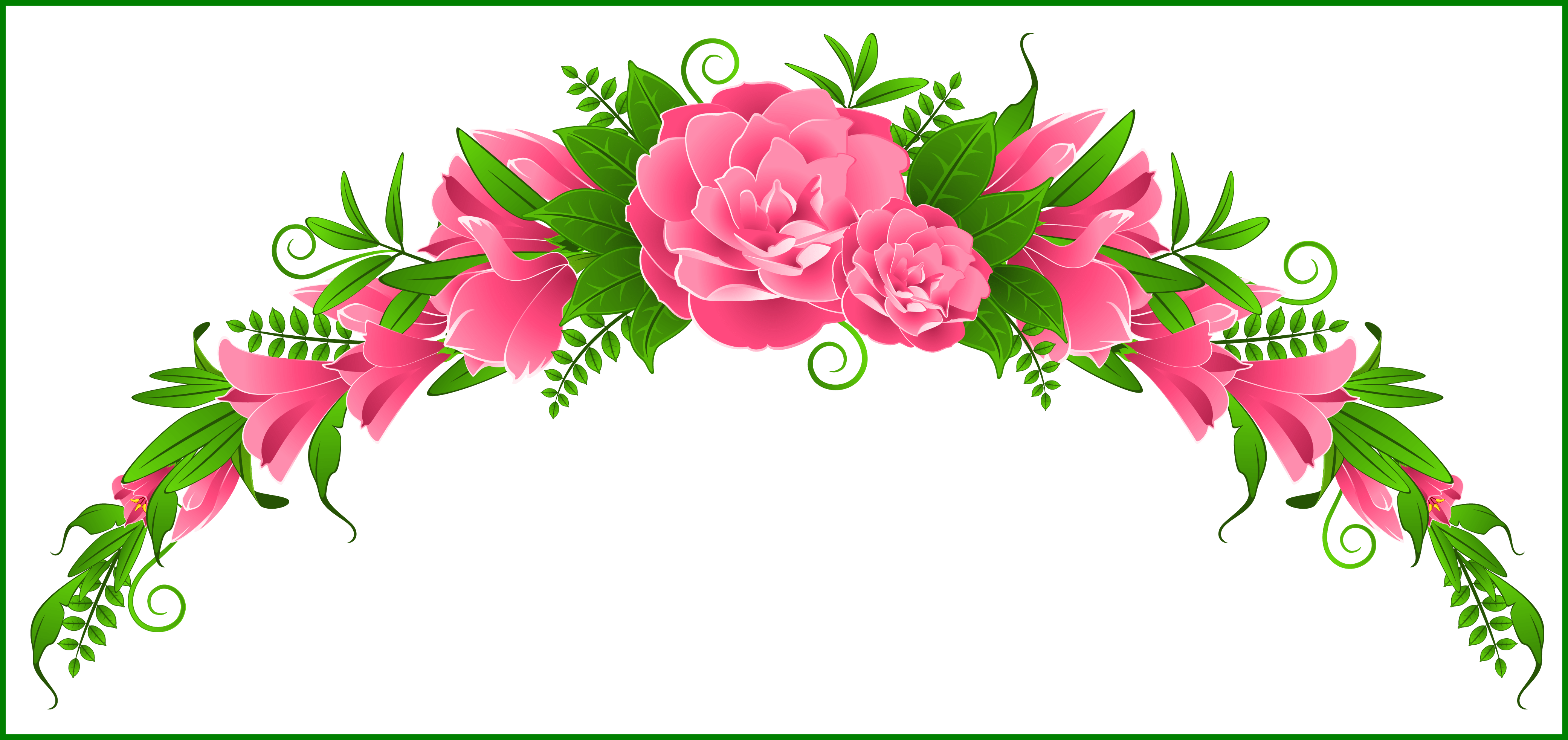 Clipart flower design banner royalty free download Shocking Pink And Element Png Clipart Gallery Yopriceville For Rose ... banner royalty free download