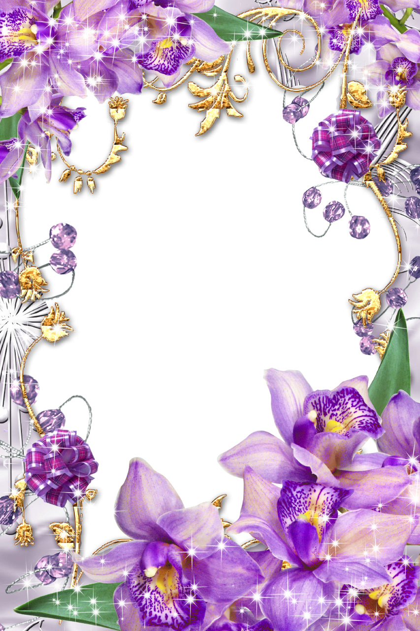 Flower clipart wallpaper jpg black and white download Purple Flower Borders and Frames | Purple-Flowers-Golden-Floral ... jpg black and white download