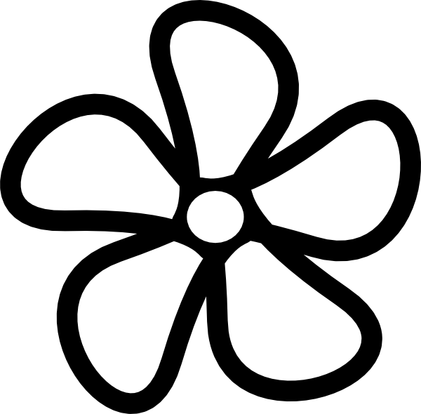 Flower clipart black and white outline png library download Funky Black And White Flower Clipart Illustration - Best Evening ... png library download