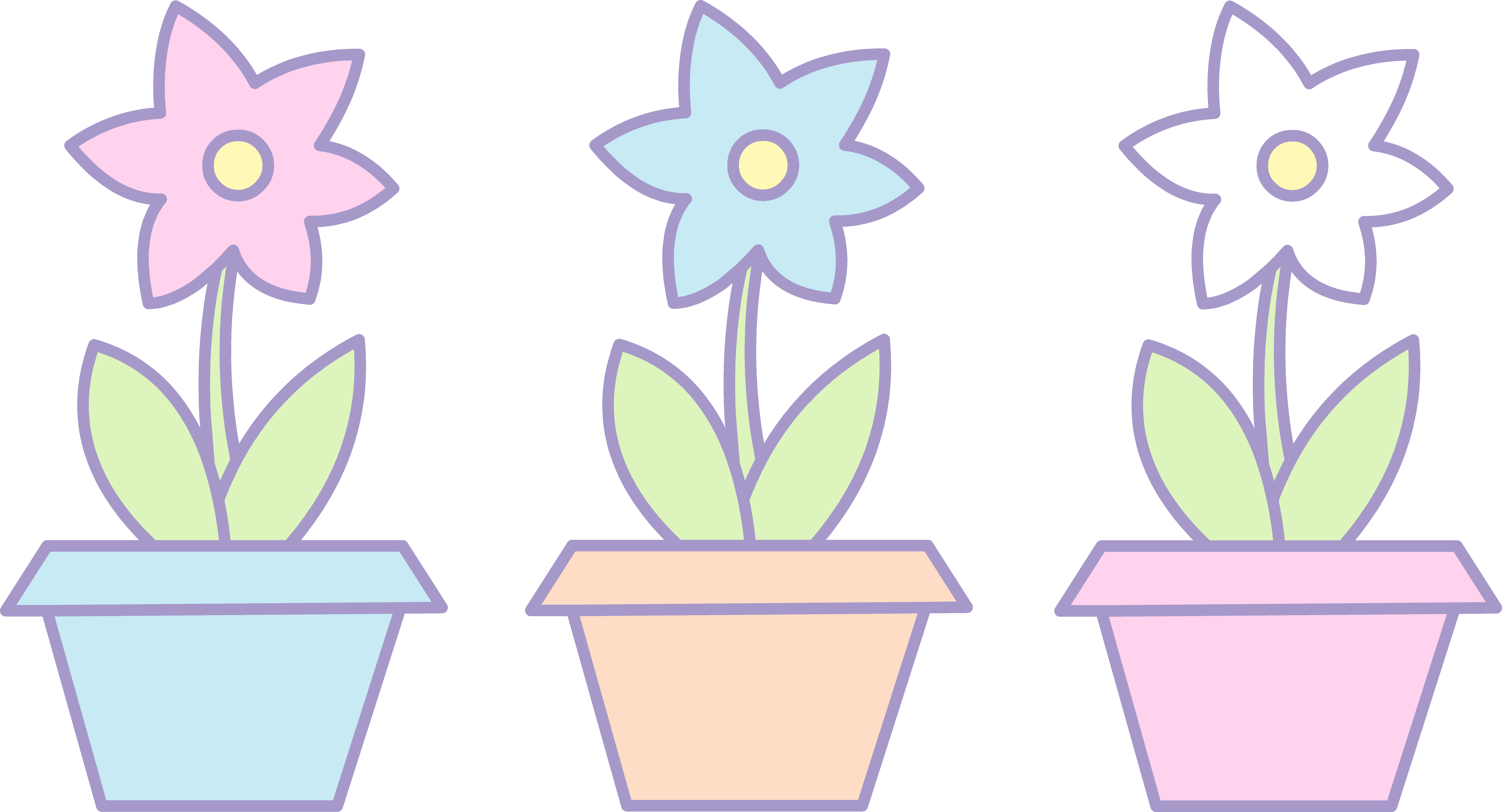 Flower pots clipart. Three cute flowers in