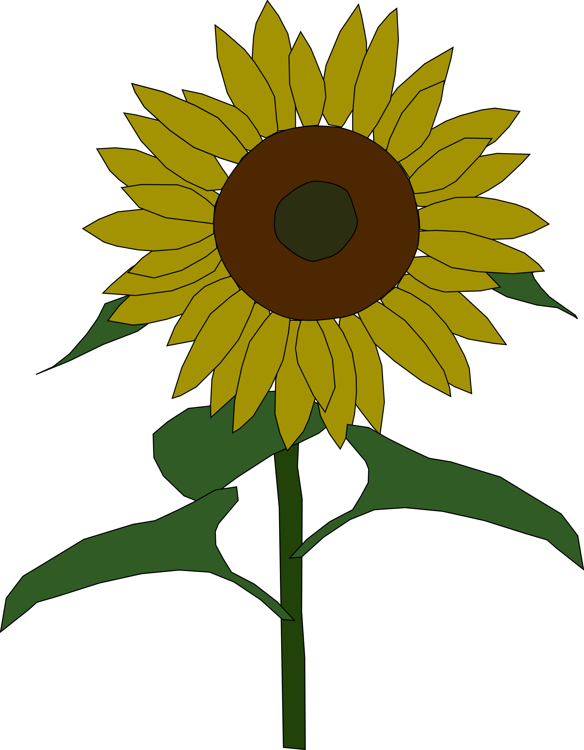 Flower seeds clipart graphic black and white Clipart - sunflower graphic black and white