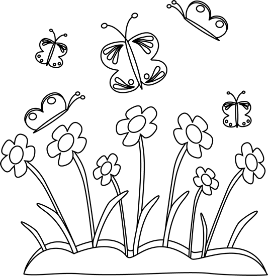 Clipart flower with butterfly black and white jpg transparent download Black and White Spring Flowers and Butterflies   Card making ... jpg transparent download