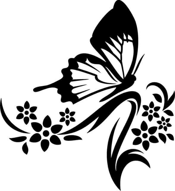 Clipart flower with butterfly black and white graphic black and white Butterfly Flower Clipart Black And White graphic black and white