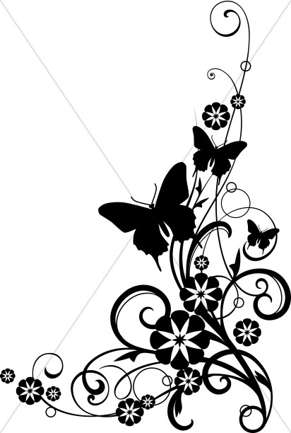 Clipart flower with butterfly black and white clipart free library Butterflies With Vine black and White Clipart   Church Flower Clipart clipart free library