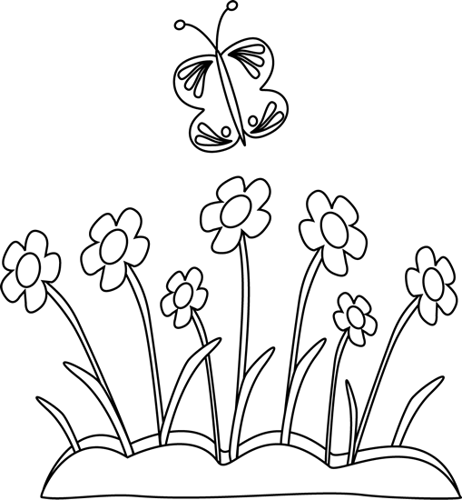 Flowers clip art . Free clipart flower and butterfly black and white