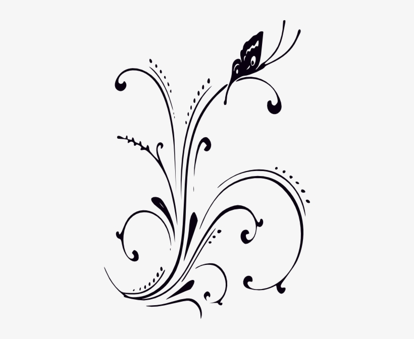 Free clipart flower and butterflu black and white jpg download Black And White Butterfly And Scrolls Clip Art At Clker - Clipart ... jpg download