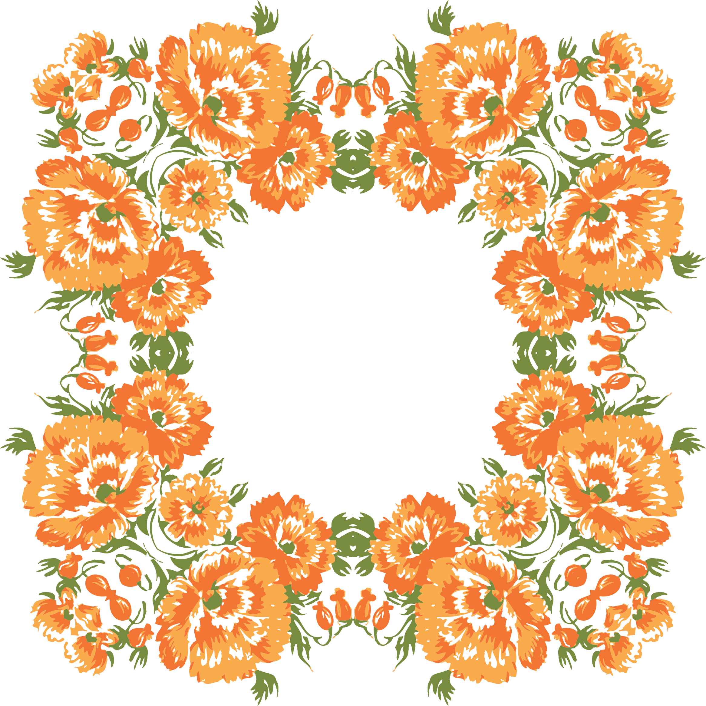 Flower wreath clipart. Floral frame big image