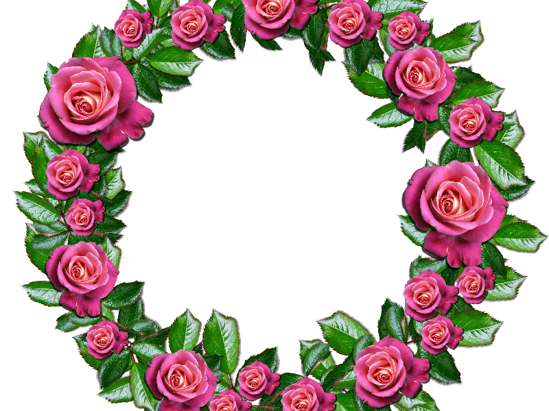 Floral png with pink. Flower wreath clipart