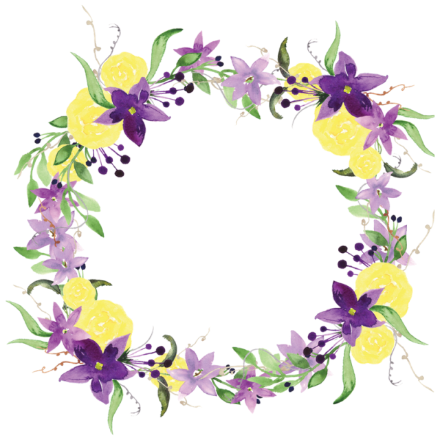 Purple flowers watercolor png. Flower wreath clipart