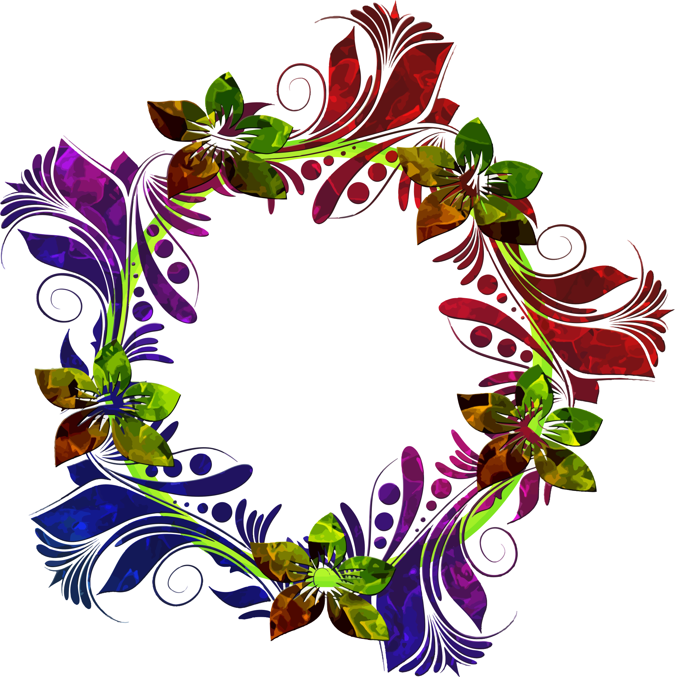 Colorful floral big image. Flower wreath clipart png
