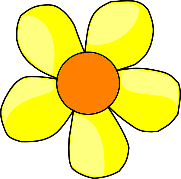Yellow clip art at. Flower cartoon clipart