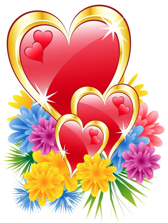 Clipart flowers and hearts graphic free stock Valentine Hearts with Flowers PNG Clipart Picture | Hearts ... graphic free stock