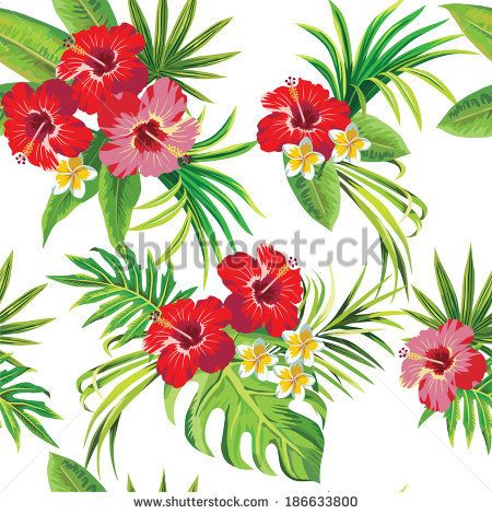 Clipart flowers and leaves picture freeuse library Tropical Hibiscus Leaves And Flowers Clipart - Free Clip Art ... picture freeuse library
