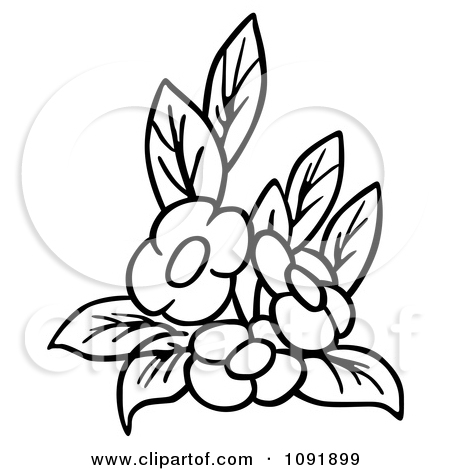 Clipart flowers and leaves banner freeuse library Clipart Outline Of Three Flowers And Leaves - Royalty Free Vector ... banner freeuse library