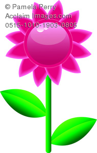 Clipart flowers and leaves graphic transparent Clip Art Image of a Glossy Pink Daisy Flower With Leaves - Acclaim ... graphic transparent