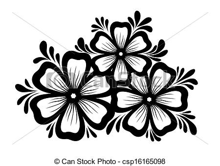 Clipart flowers and leaves banner black and white stock EPS Vectors of Beautiful floral element. Black-and-white flowers ... banner black and white stock