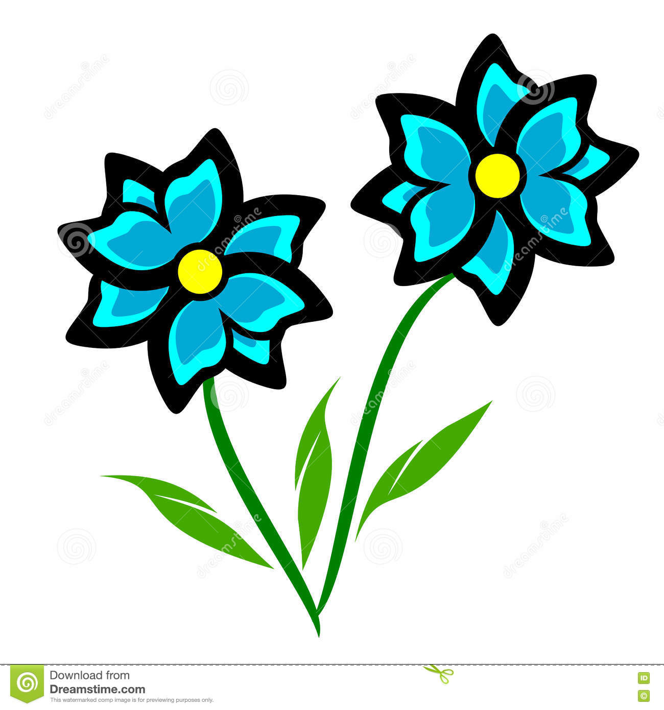 Clipart flowers and leaves graphic royalty free download Blue Flowers with Leaves Clip Art – Clipart Free Download graphic royalty free download